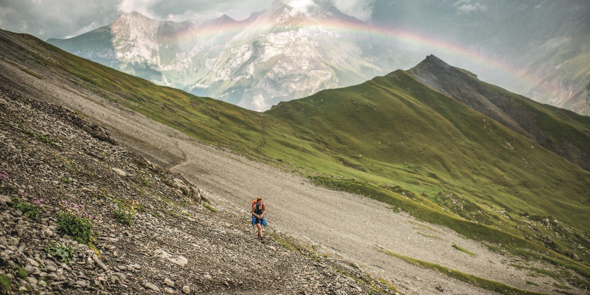 Alpschelegrat, Regenbogen ueber Kandersteg